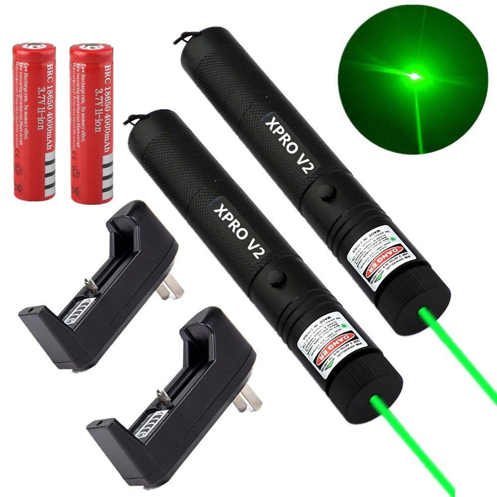 2PC Military Powerful Green Laser Pen 5mw 532nm XPRO Laser+ Battery+Charger