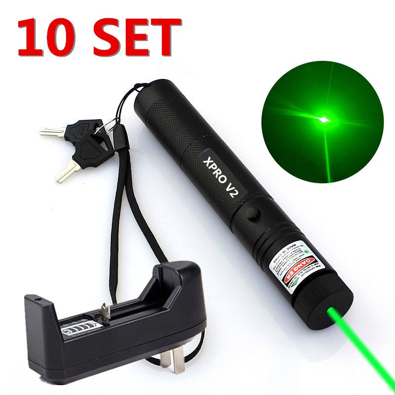 10Set Military Powerful Green Laser Pen 5mw 532nm XPRO Laser+ Battery+Charger
