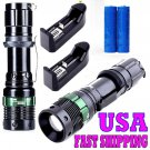 2Set X800 Rechargeable Q5 Led Flashlight Alonefire ShadowHawk Set+2xBattery+1xCharger