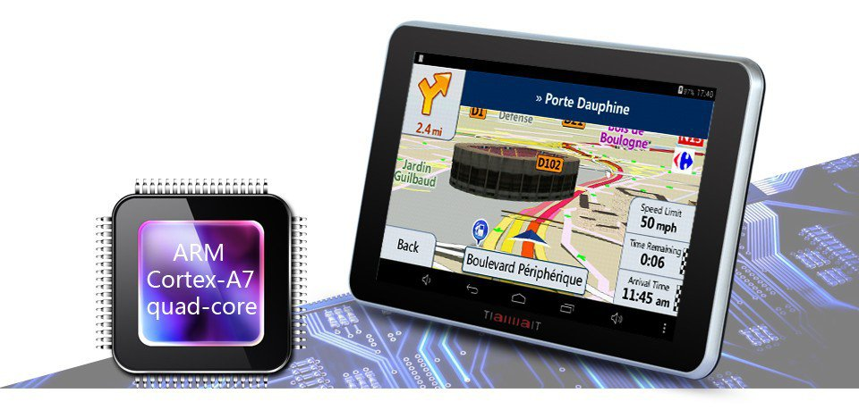 "Android Car GPS Navigation System 7"" 16GB Quad Core WiFi Bluetooth Music Player"