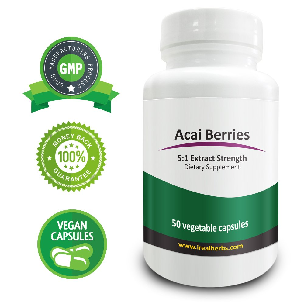 Real Herbs Acai Berry Extract PE 5:1 - Equal to 2000mg of Acai Berries