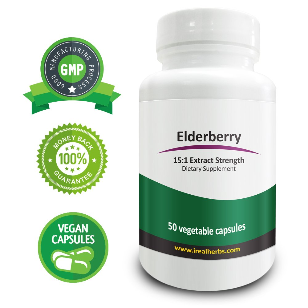 Real Herbs Elderberry Extract PE 15:1 - Equal to 10500mg of Elderberries