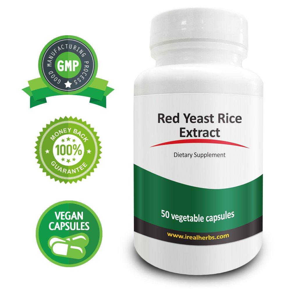Real Herbs Red Yeast Rice 1500mg - 50 Vegetarian Capsules