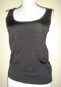 Ellen Tracy Tank Shell Cami Sleeveless Top Black Rayon Stretch Size Small NEW