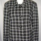 NWT Briggs New York Plaid Jacket Blazer Nubby Lined Black White Womens 10