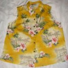 HILO HATTIE Hawaiian Top Blouse Shirt Sleeveless Tropical Floral Womens L USA