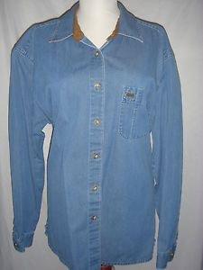 TALBOTS Blue Jean Long Sleeve Button Blouse Shirt Top Cotton Womens Large