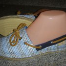 NEW Sperry Top Sider Katama Boat Shoe Canvas Espadrille Blue Fish Womens 8M