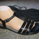 SAS Tripad Comfort Black Leather Slingback Strappy Sandals Womens 10 Narrow