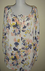 LUCKY BRAND White WaterColor Floral BOHO Peasant Sheer Blouse Top Womens 1X