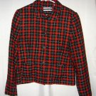 Amanda Smith Blazer Jacket Red Black Plaid Holiday Acrylic Mohair Womens 12