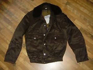 VINTAGE BLAUER TUFNYL LINED Weather Resistant BROWN BOMBER JACKET 36 Long