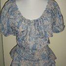 Ralph Lauren Jeans Peasant Blouse Top Boho Cinched Waist Blue Floral Womens 3X