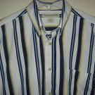 MUNSINGWEAR Shirt Button Down Collar Short Sleeve 100% Cotton Striped Mens Large