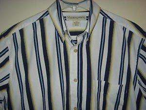 MUNSINGWEAR Shirt Button Down Collar Short Sleeve 100% Cotton Striped Mens Large