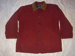 Lands End RED Barn Coat Ranch Farm Field Western Jacket Lined Canvas Mens XL