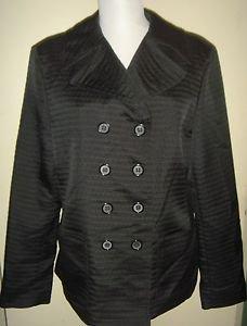 KASPER Black Double Breasted Jacket Blazer Textured Lined  Womens 12