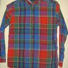 Tommy Hilfiger Shirt Mens XL Blue Red Green Plaid Button Collar Long Sleeves