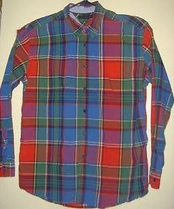 Tommy Hilfiger Shirt Mens XL Blue Red Green Plaid Button Collar Long Sleeves