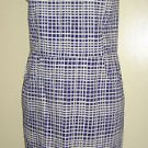 NEW Bloomingdales Aqua Brand Strapless Dress Wavy Checks Cobalt Blue Small USA