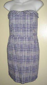NEW Bloomingdales Aqua Brand Strapless Dress Wavy Checks Cobalt Blue Small USA