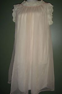ARISTOCRAFT by Superior Chiffon Pink Negligee Lingerie Nightgown Nylon USA Small