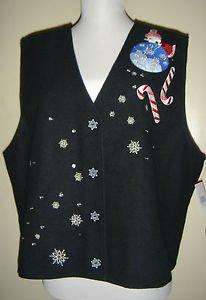 Karen Scott Christmas Holiday Vest Black Santa Snowflakes Lined Not So Ugly XL