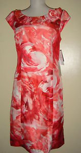 NWT Sandra Darren Pink Floral Dress Cap Sleeves Wiggle Watercolor Art Womens 8