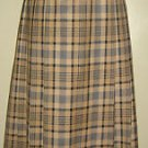 Pendleton Tartan Plaid Pleated Skirt 100% Virgin Wool Womens 10 Tan Black USA
