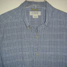 J CREW Shirt Button Down Collar Short Sleeve 100% Cotton Plaid Mens Large