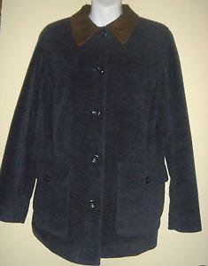 LL Bean Winter Coat Wool Blend Navy Blue Insulated Womens Small Regular