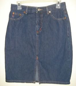 GUESS JEANS Dark Wash Denim Skirt Knee Length Straight Pencil Cotton Size 28 USA