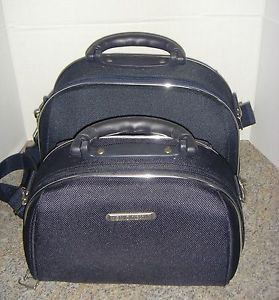 Luca Vergani 2-Piece Travel Cosmetic Makeup Bags Cases Navy Blue Zippered Totes