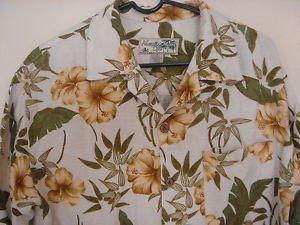 Havana Jack's Cafe Hawaiian Camp Aloha Shirt Floral Tropical Rayon Mens Medium