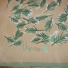 Vera Neumann Ladybug 100% Silk Scarf Beige Green Leaf Leaves Nature Vintage 60's