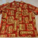 Go Barefoot USA Hawaiian Shirt Floral Tribal Batik Cotton Red Beige Womens Large
