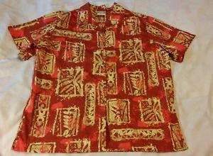 Go Barefoot USA Hawaiian Shirt Floral Tribal Batik Cotton Red Beige Womens Large