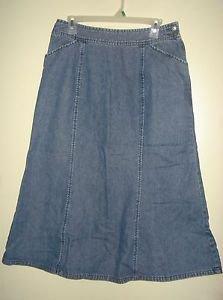 Christopher Banks Long Jean Denim Skirt A-Line Flare Modest Dark Blue Womens 12