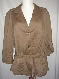 J JILL Belted Jacket Blazer Brown Cotton Blend Womens Large