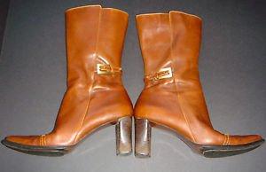 ANNE KLEIN AK Brown Leather Fashion Boots Mid-Calf Heel Buckle Zipper Womens 7M