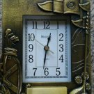 Bulova Quartz Golf antiqued brass picture frame working clock