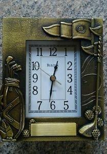 Bulova Quartz Golf antiqued brass picture frame working clock