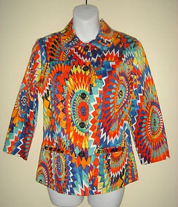 CHICOS Size 0 Blazer Jacket Lined Psychedelic Multicolor Artsy Art To Wear