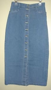 EDDIE BAUER Long Jean Denim Skirt Modest Straight Pencil Maxi Womens 10