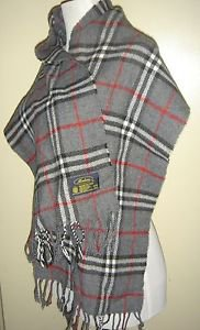 Modena Scarf Tartan Plaid Gray Black White Red Fringed Acrylic Made in ITALY