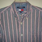 TOMMY HILFIGER JEANS Denim Shirt Button Long Sleeve 100% Cotton Striped Mens L