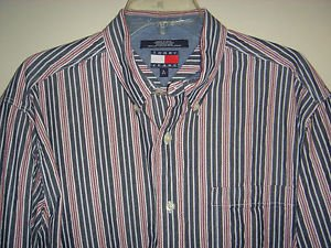 TOMMY HILFIGER JEANS Denim Shirt Button Long Sleeve 100% Cotton Striped Mens L