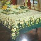 "KEMP & BEATLEY 60"" X 84"" OBLONG SPLENDOR HOLLY FLORAL CHRISTMAS TABLECLOTH-NEW"