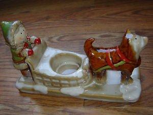 NEW Yankee Candle Eskimo Girl Dog Sled Tea Light Holder by Ronnie Walter