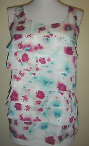 ANN TAYLOR LOFT Petite Watercolor Floral Ruffle Tiers Sleeveless Blouse Tunic SP